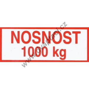 Štítek nosnost 1000 kg
